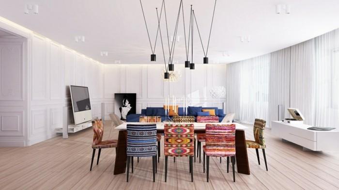 moderne stühle esszimmer designerstühle farbiges design eklektisches innendesign