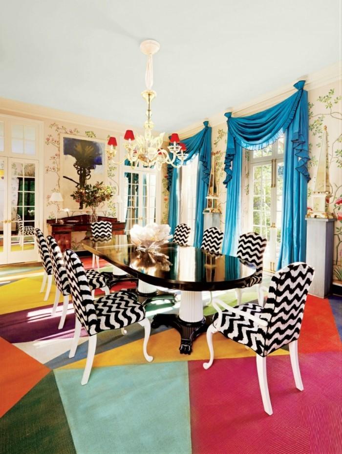 moderne stühle esszimmer designerstühle zig zag muster farbiger teppich