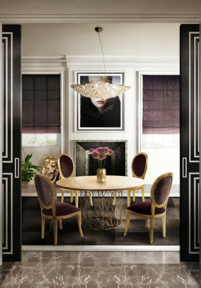 moderne stühle esszimmer edles design dunkelrot runder esstisch