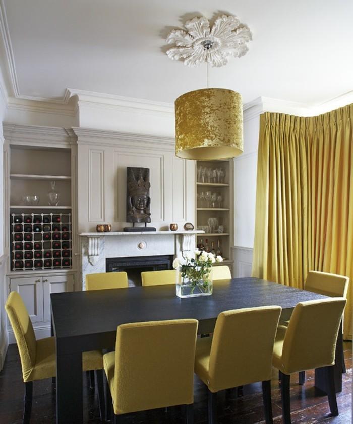 moderne stühle esszimmer gelbe stühle dunkelbrauner esstisch gelbe gardinen
