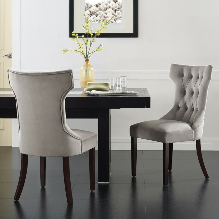 moderne stühle esszimmer gepolstert schwarzer bodenbelag