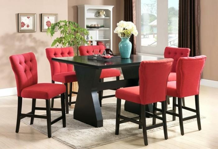 moderne stühle esszimmer gepolsterte rote stühle