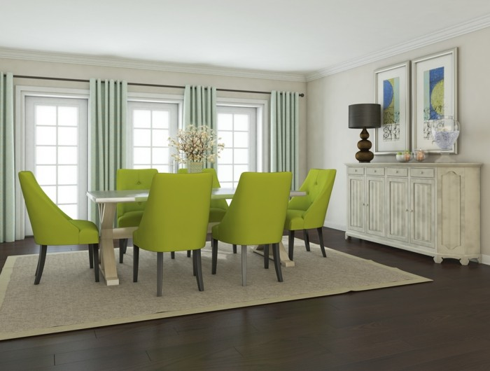 moderne stühle esszimmer grüne essstühle beiger teppich