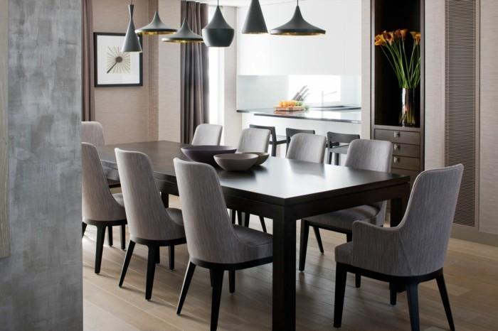 moderne stühle esszimmer graue essstühle eleganter dunkelbrauner esstisch