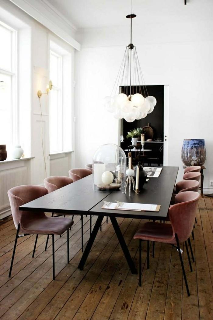 moderne stühle esszimmer großer esstisch dielenboden