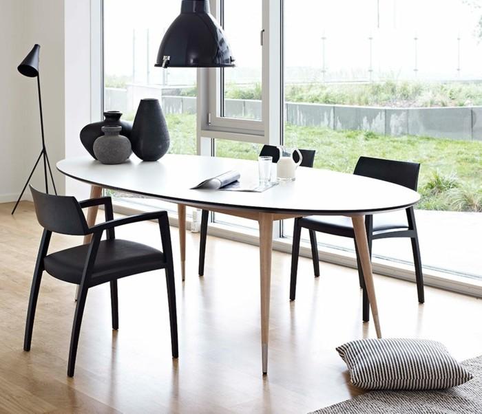 moderne stühle esszimmer schwarze essstühle armlehnen ovaler tisch