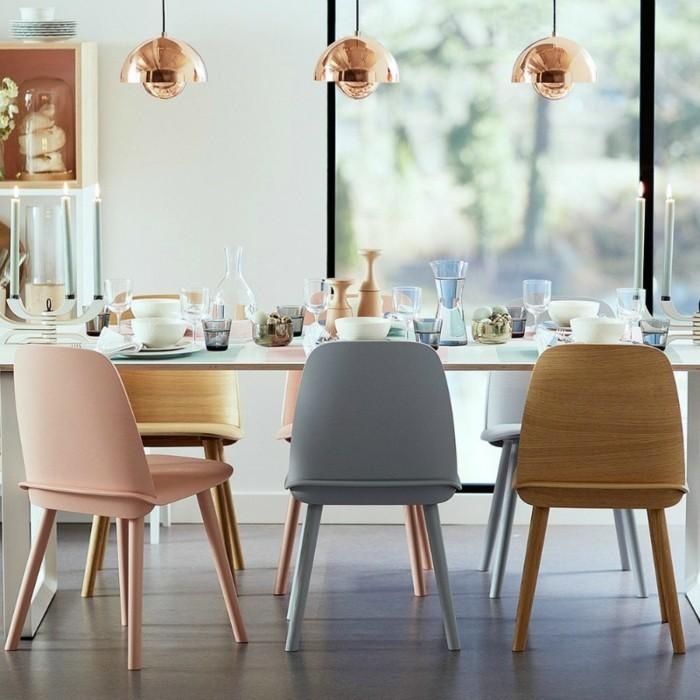 moderne stühle esszimmer skandinavische züge pastellfarben