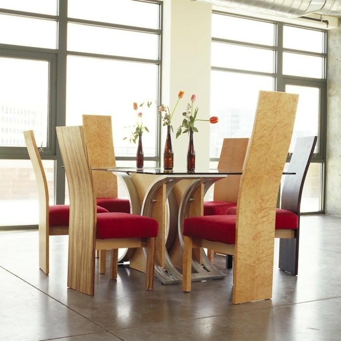 moderne stühle esszimmer stilvoll bequem rote akzente