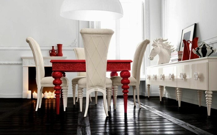 moderne stühle esszimmer weiße stühle roter esstisch schwarzer bodenbelag