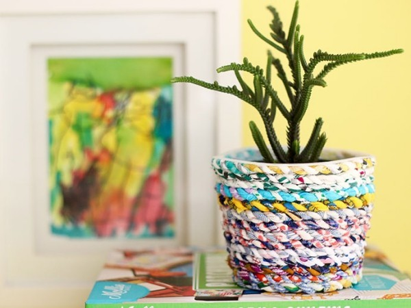 nähen aus stoffresten vase diy idee für zimmerpflanzen
