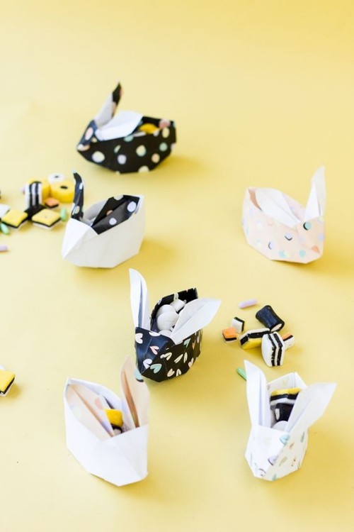 origami osterhasen bonbons kleine ostergeschenke