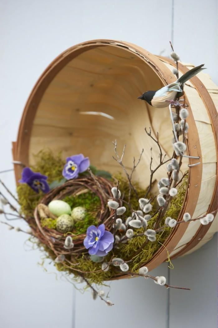 osterdeko basteln blumensorten weiße blüten nest vogel