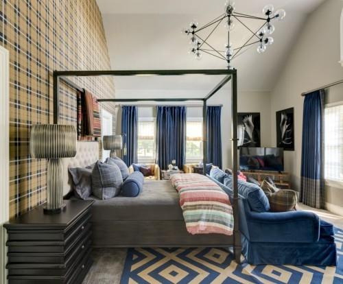quadrartische muster in beige und blau teppich wohnzimmer