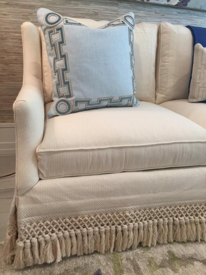 quasten fransen sofa modern beige