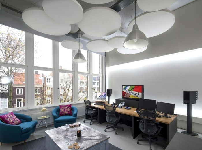 raumakustik verbessern deckenpaneele rund arbeitszimmer