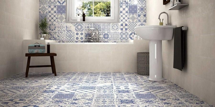 retro fliesen badezimmer schönes muster blau weiß
