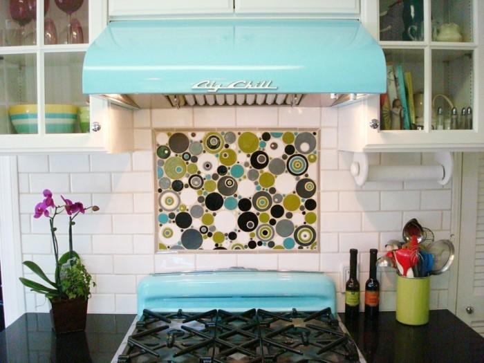 retro fliesen küche gestalten farbige küchenrückwand