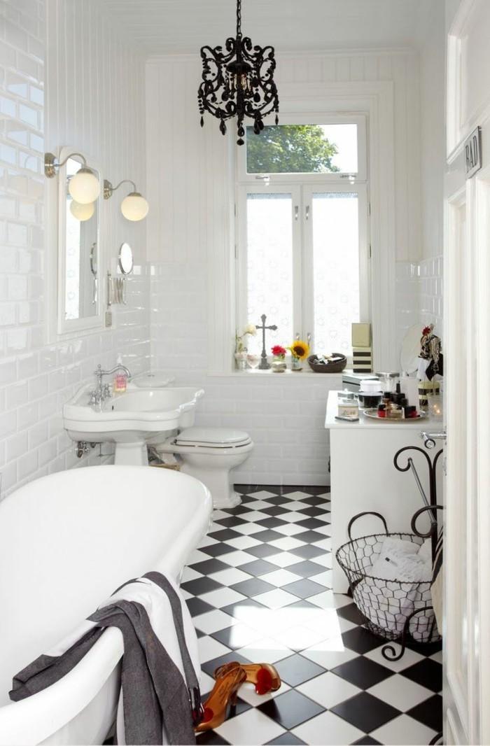 retro fliesen retro badezimmer bodenbelag weiß schwarz