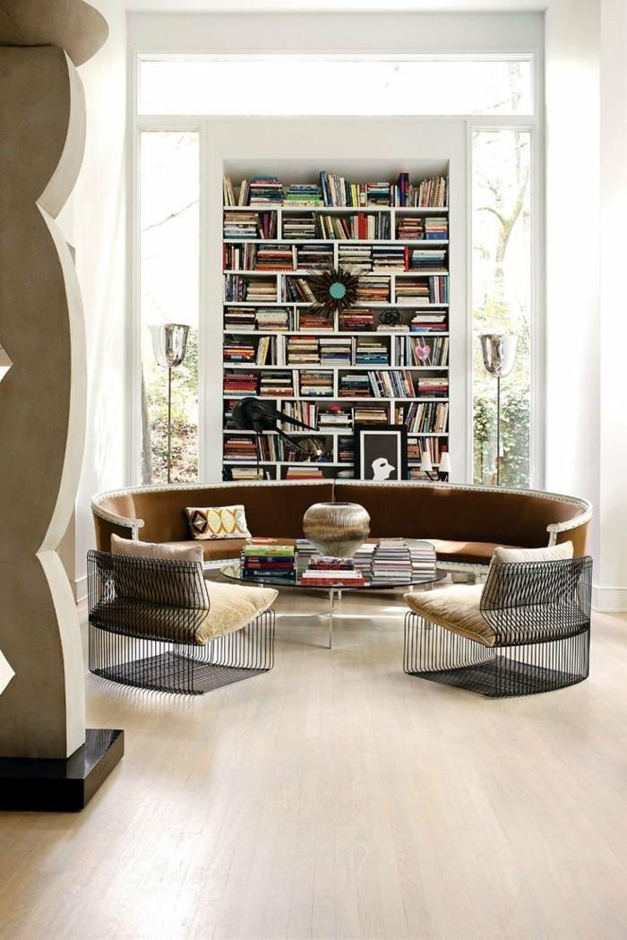 Rundes sofa im wohnbereich 43 ideen f r bequeme und for Heller bodenbelag