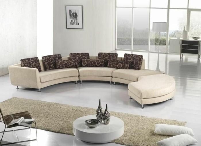 rundes sofa beiges rundsofa modernes wohnzimmer bereiche absondern
