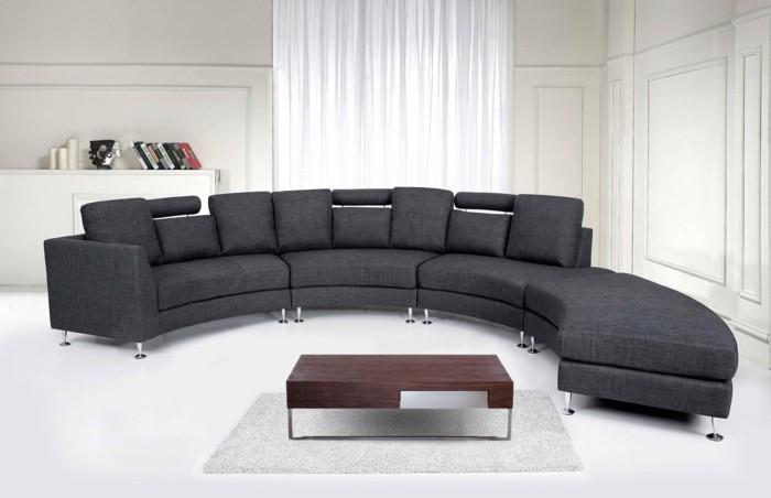rundes sofa graues sofa stilvoller couchtisch weißer bodenbelag