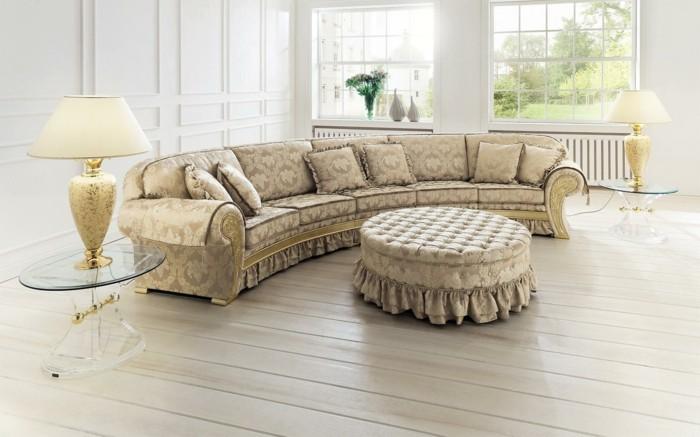 rundes sofa luxuriöses design helle farben dielenboden