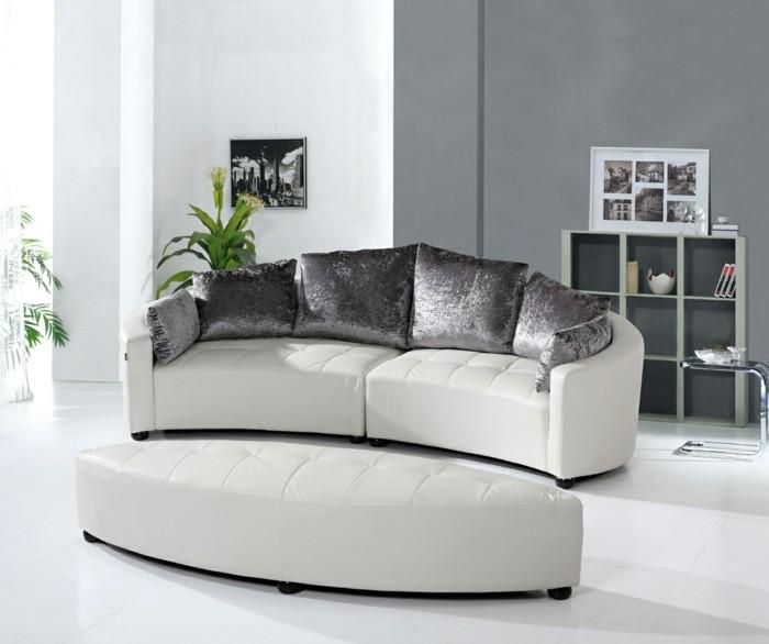rundes sofa luxuriöses wohnzimmersofa weißer bodenbelag