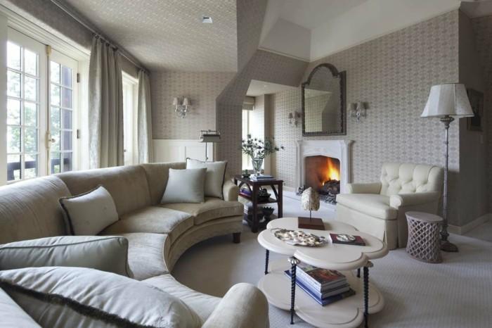rundes sofa moderne feuerstelle schöner couchtisch