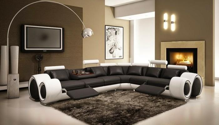 rundes sofa modernes funktionales sofa schwarz weiß