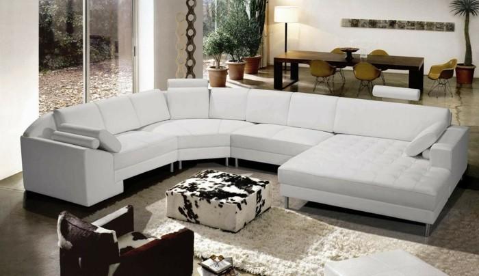 rundes sofa modernes weißes rundsofa kuhfellsofa couchtisch weicher teppich