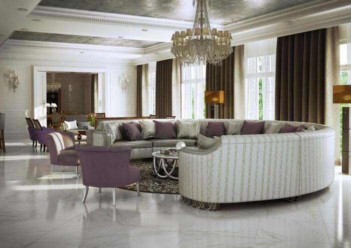 rundes sofa schickes design runder teppich lila stühle