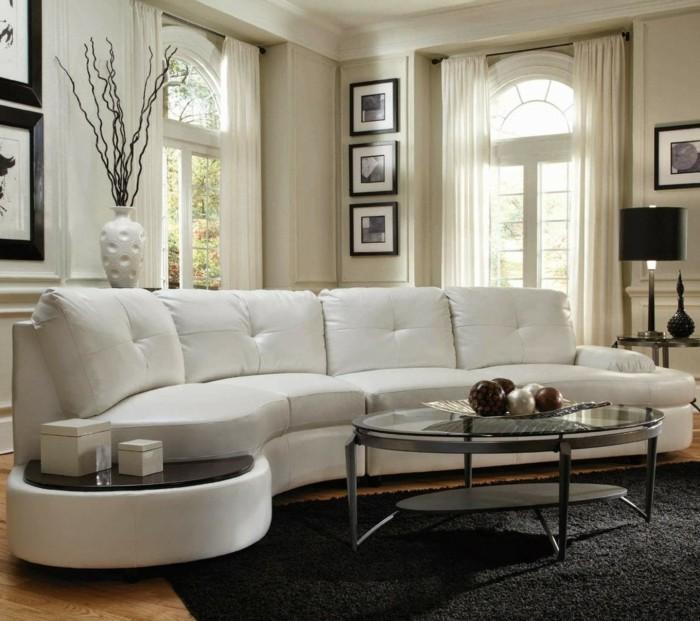 rundes sofa schickes weißes rundsofa schwarzer teppich