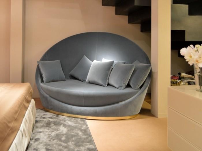rundes sofa schlafzimmer möbel schlafzimmereinrichtung ideen