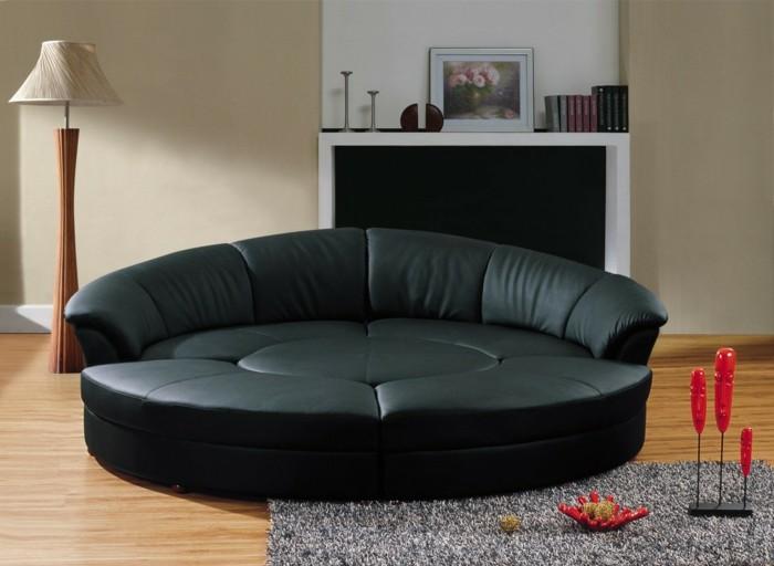 rundes sofa schwarzes wohnzimmer set grauer teppich