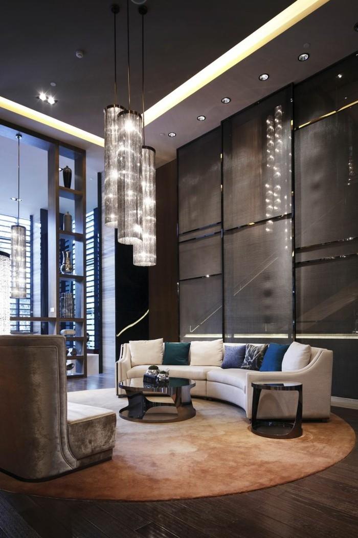 rundes sofa weiß farbige dekokissen runder teppich