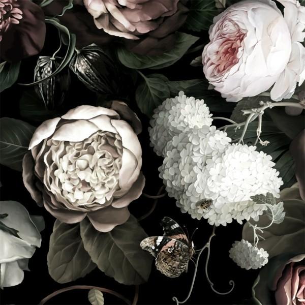 schöne pfingstrosen als tapete dark floral wanddeko ideen