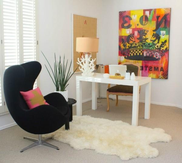 schafsfell teppich egg chair arbeitszimmer deko trends 2018