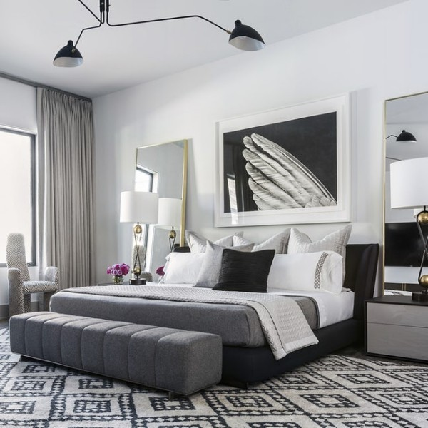 schlafzimmer dekokissen ideen schwarz weiß