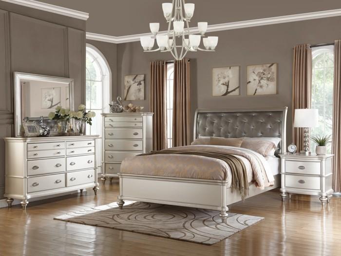 schlafzimmer farben taupe leder kopfteil weißes mobiliar