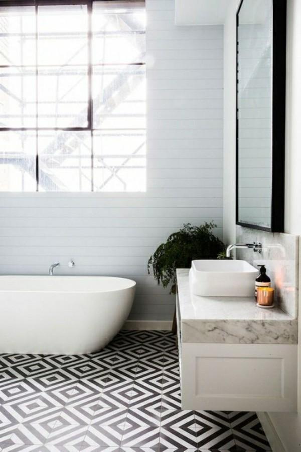 schwarz weiße bodengestaltung badezimmer einrichtung