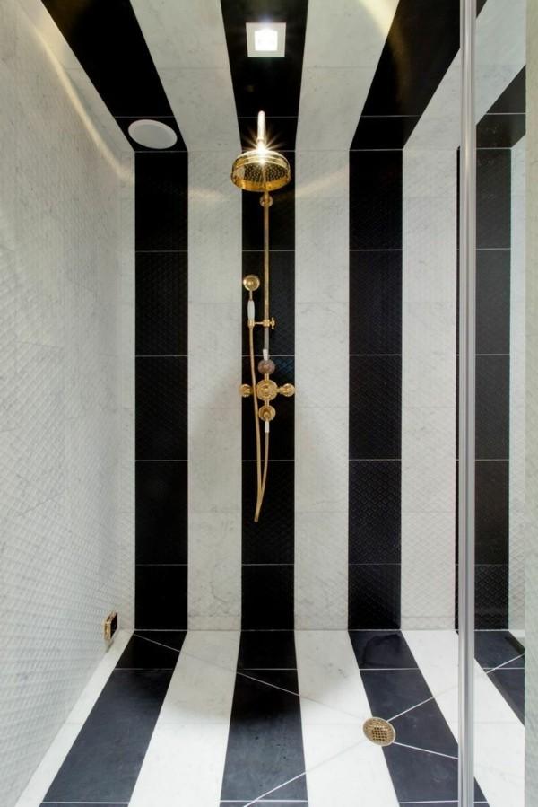 schwarz weiße streifen badezimmer einrichtung