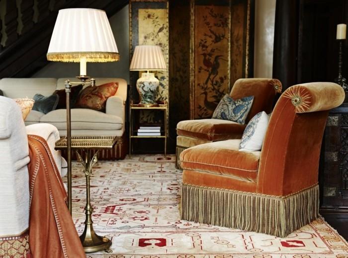 sessel samt fransen wohntrend luxus teppich wohnzimmer einrichten