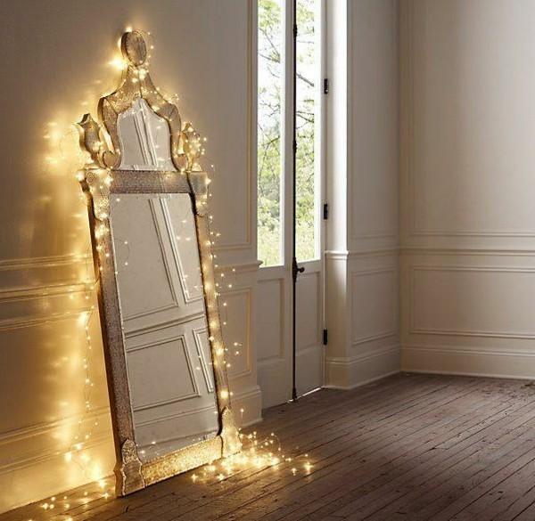 spiegel dekoideen mit lichterketten schlafzimmer