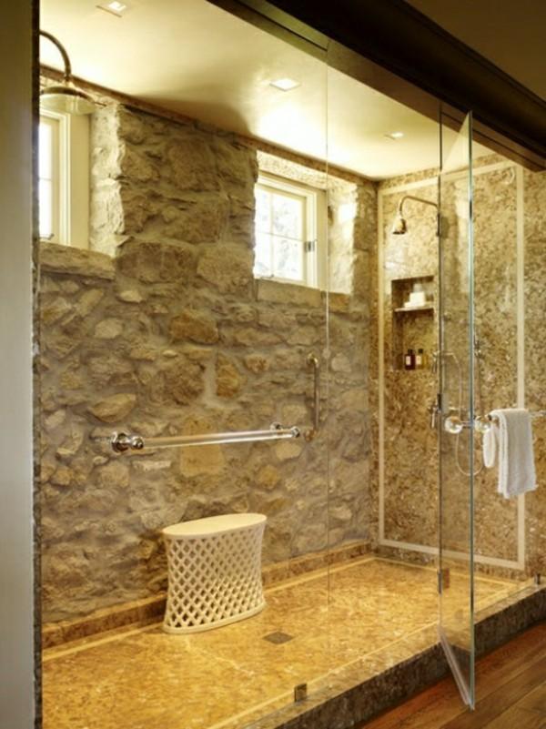 steinwände einrichtungsideen waschbecken und glasflächen