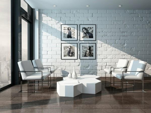steinwände inneneinrichtung ideen minimalismus