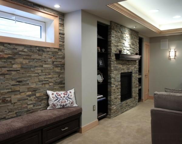 steinwände inneneinrichtung ideen tolles wohnzimmer