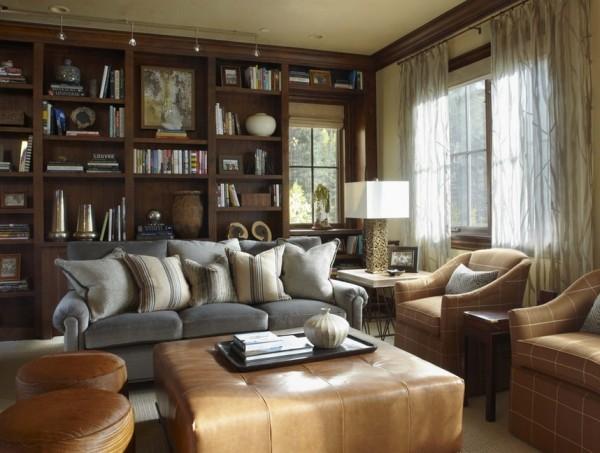 streifen beige dekokissen ideen wohnzimmer leder ottomane
