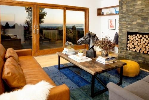 teppich für wohnzimmer blau unter dem tisch