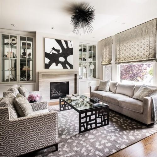 teppich für wohnzimmer weiß graue schattierungen