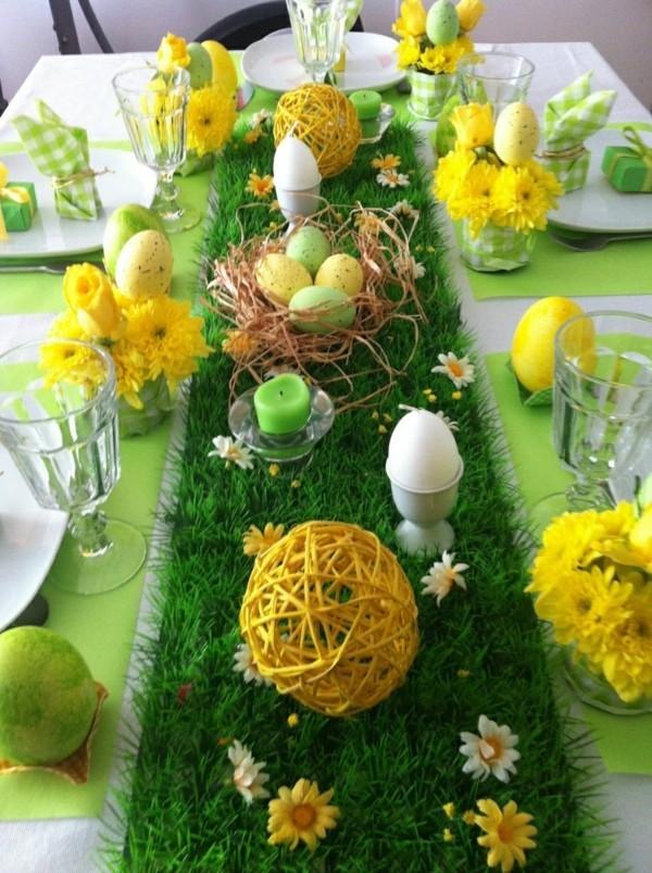 tischdeko ostern ausgefallene idee grün und gelb